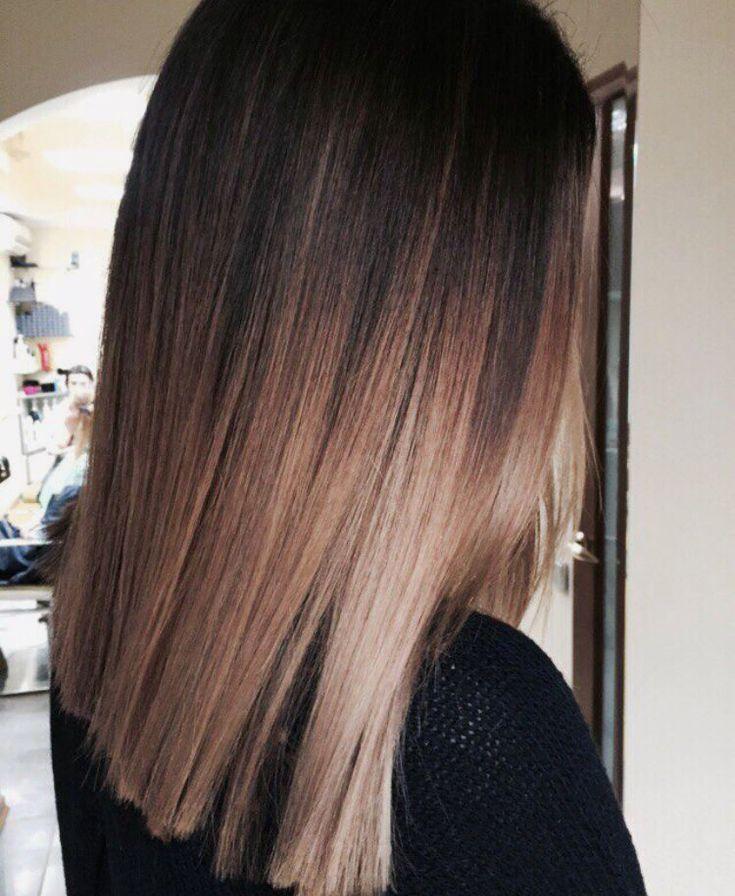 Brunette dark brown black balayage medium straight