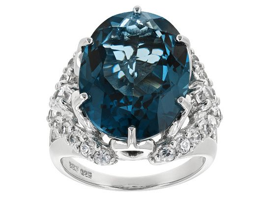11.76ct Oval London Blue Topaz With 1.29ctw Round White Zircon Sterlin