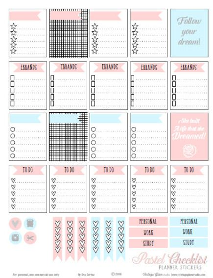 Pastel Checklist Planner Stickers | Free Printable Download suitable for Erin Condren Planners as well as Week at A Glance planner tools.