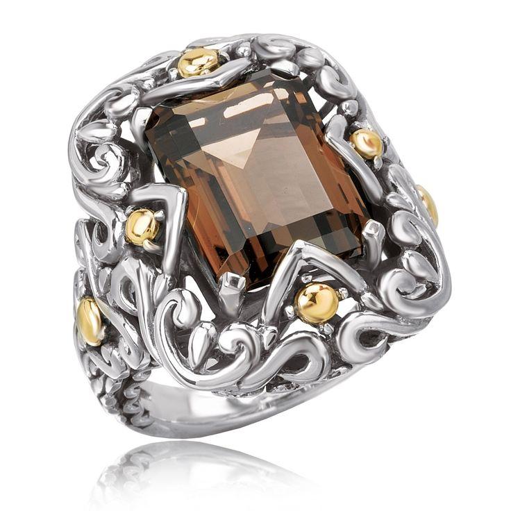 Avanti Sterling Silver and 18K Yellow Gold Emerald Cut Smoky Quartz Swirl Design Ring (Size 7), Women's, Brown