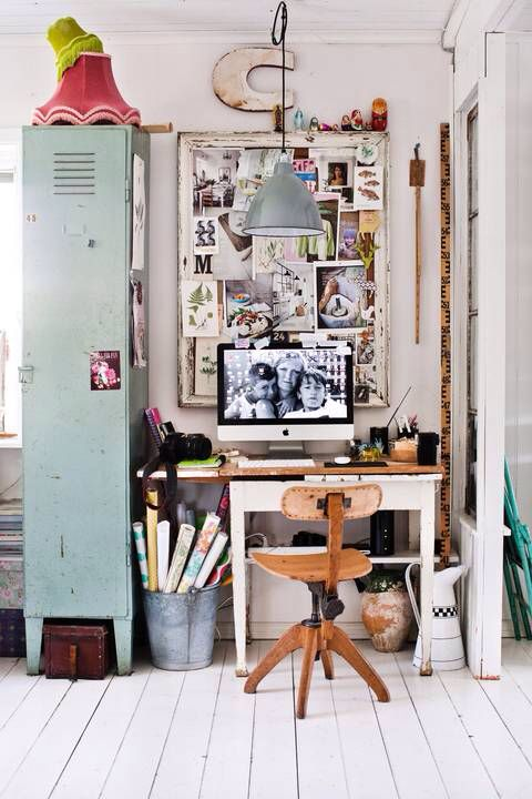 A house full of charming ideas loving this workspace and many ideas in this home tour by swedish interior stylist johanna flyckt gashi via hus and hem