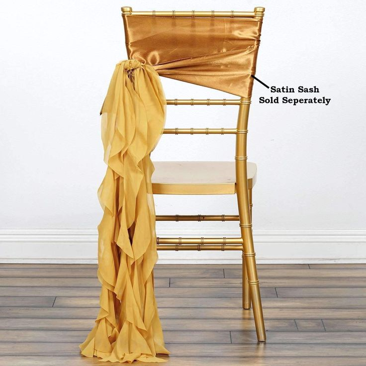 Chiffon Gold Curly Willow Chair Sashes For Catering