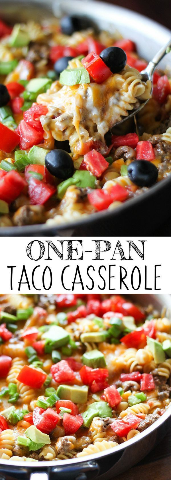 Looking for easy to make one-pot meals? This One-Pan Taco Casserole will be your new favorite. The pasta and ground beef is simmered in a flavorful broth seasoned with tomatoes, chili powder and cumin, and topped with melty cheese, fresh tomatoes and avocados. Add this to your collection of easy dinner recipes. For more easy food recipes, creative craft ideas, easy home decor and DIY projects, check us out at #no2pencil. #food #healthyrecipes #healthy #recipeoftheday #recipeideas