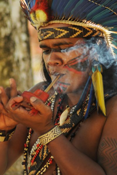 **Man from the Xerente tribe of Brazil smoking