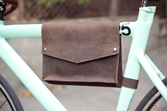 Cute accessory for the cyclist in your life. Leather Bike Frame Bag by jrawldesign on Etsy.