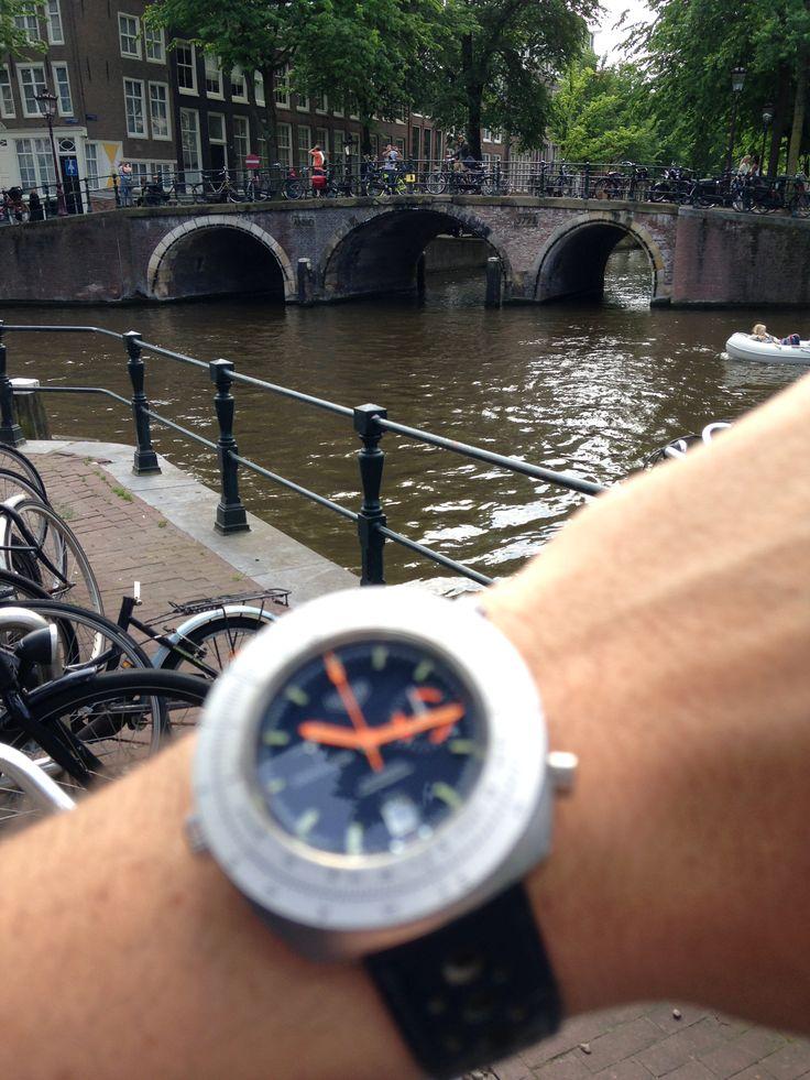 Canal bridge and a Heuer Calculator..
