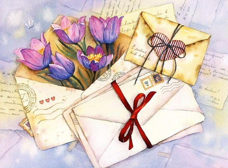 Письмо с цветами картинка рабочий