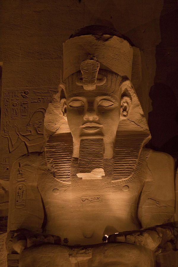 A close view of Ramses II's temple at Abu Simbel at night