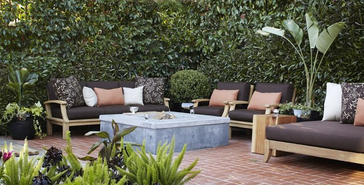 Contemporary Patio with Kingsley bate ipanema sectional chaise lounge with cushions, exterior brick floors, Fire pit, Fence