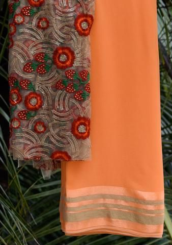 Orange saree with embroidered blouse piece