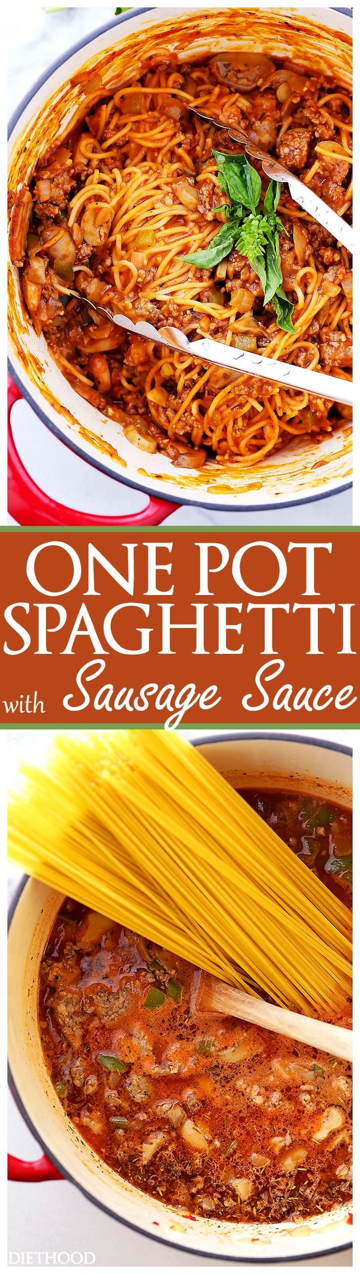 One Pot Spaghetti with Sausage Sauce Recipe - Made with pork sausage, peppers, mushrooms and pasta, this easy, one pot dinner recipe is on the table in just 30 minutes!  #ad #JDFAMILYTABLE