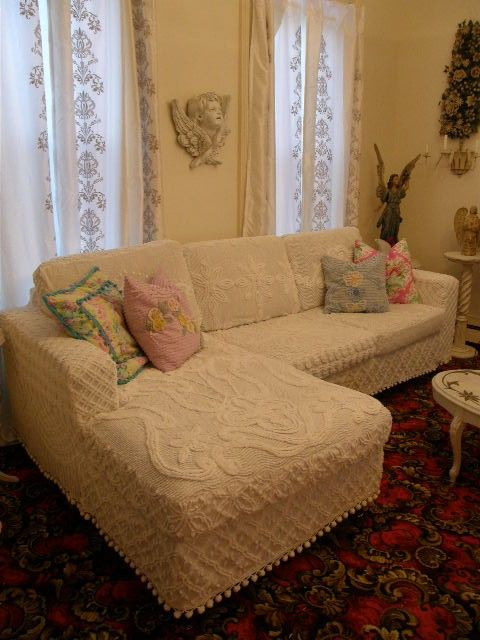 I love chenille!Decor, Vintage Chenille, Vintage Chic, Couch, Chic Furniture, Chenille Bedspreads, Shabby Chic, Slipcovers, Living Room