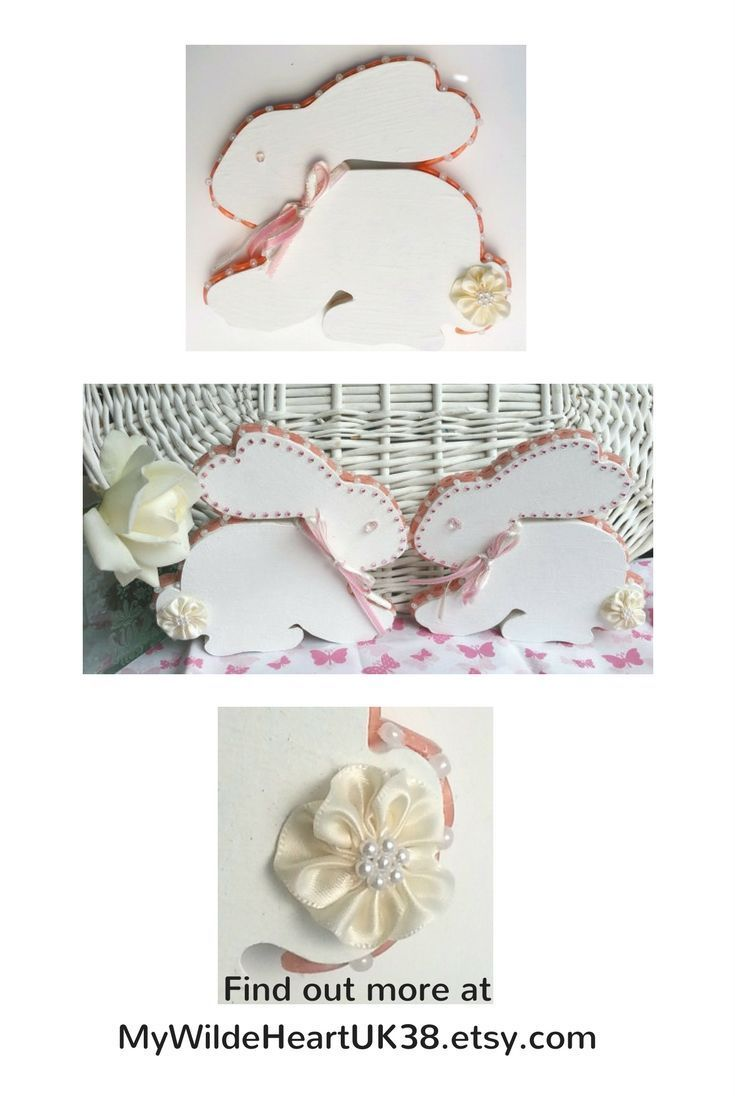 Sweet rabbit ornaments for a baby girl's pink and white nursery decor - sold as a pair.  Click through to my shop #babygirl #bunnies #nurserydecor #babygift