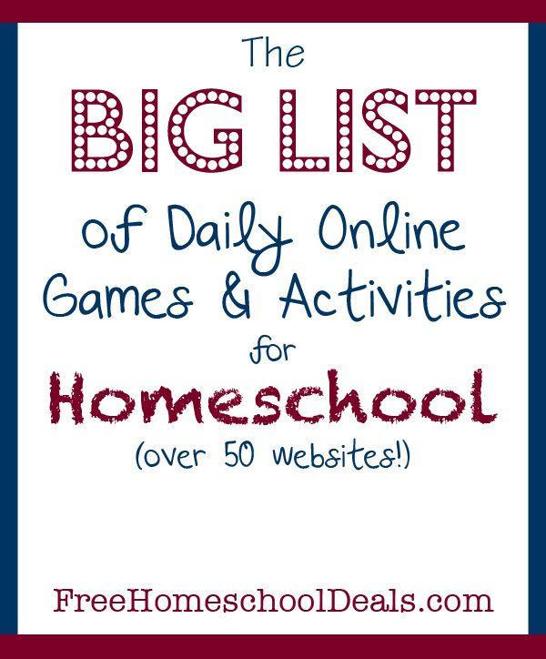 online games and activities for homeschool