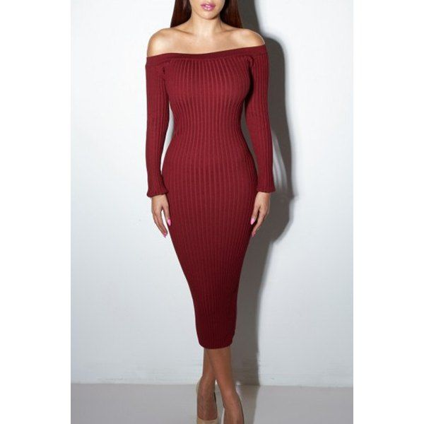 Elegant Off-Shoulder Long Sleeve Solid Color Bodycon Sweater Dress For Women