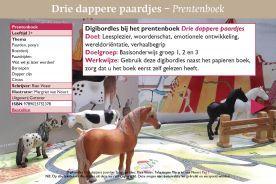 Digibordles Drie dappere paardjes, prentenboek. Wat willen de paardjes worden? Wat past bij hen? Een boerderijpaard, rijpaard of circuspaard? Leuk bij thema Circus!