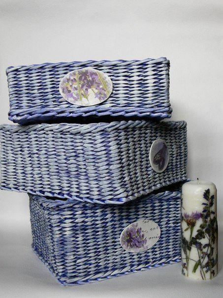 """Короба для детской или спальни """"Лавандовый цвет"""". Дно картонное или плетеное. Изготовлю в любых размерах"""