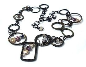 """Upcycled """"Grunge"""" steel and pearl necklace by Linda Jones"""