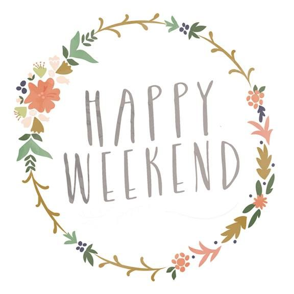Happy Weekend Digital Print $4.99 - Instant Download | Krista Ganelon on Etsy | Happy Weekend, Happy Quote, Floral Wreath Illustration