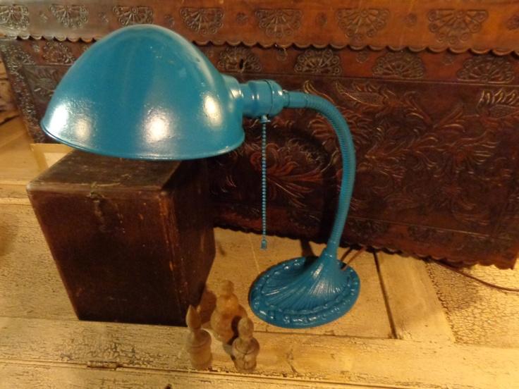 Vtg. Industrial Age gooseneck  teal Desk Lamp Art Deco cast iron base, restored WORKS. $49.00, via Etsy.