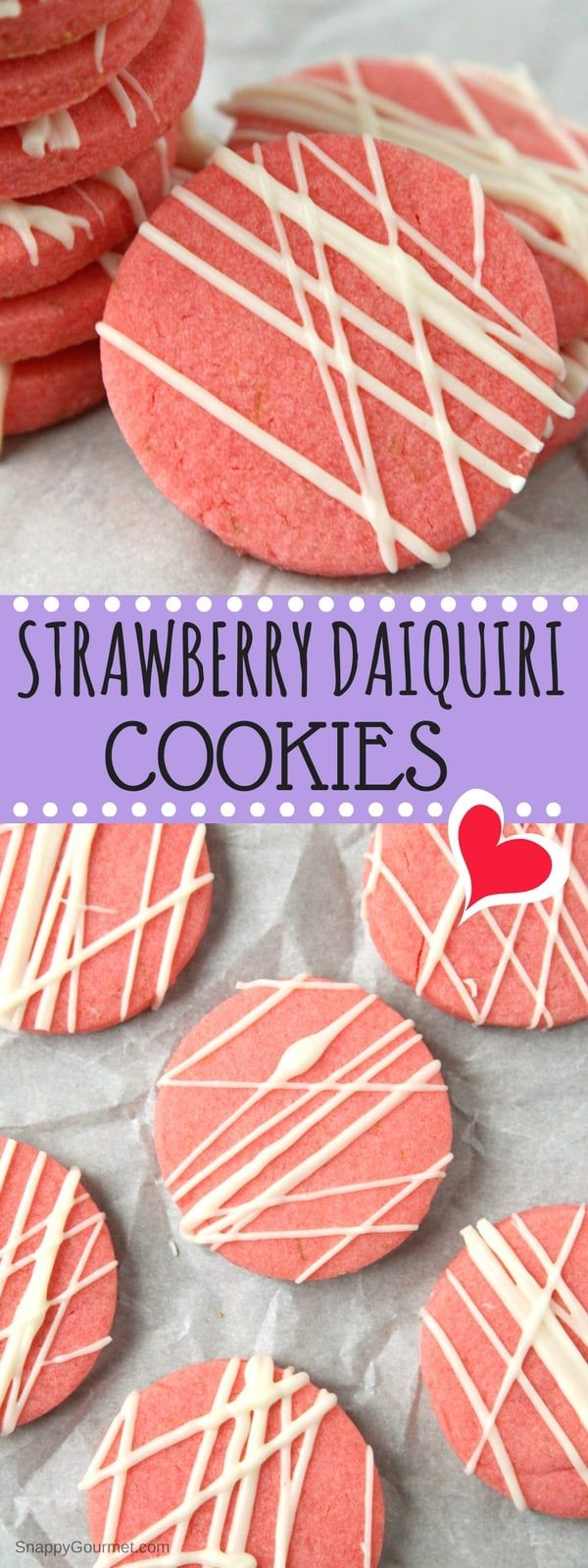 Strawberry Daiquiri Cookies -- easy strawberry sugar cookie recipe w/ strawberry, lime & rum, great Christmas cookie idea! [] SnappyGourmet.com