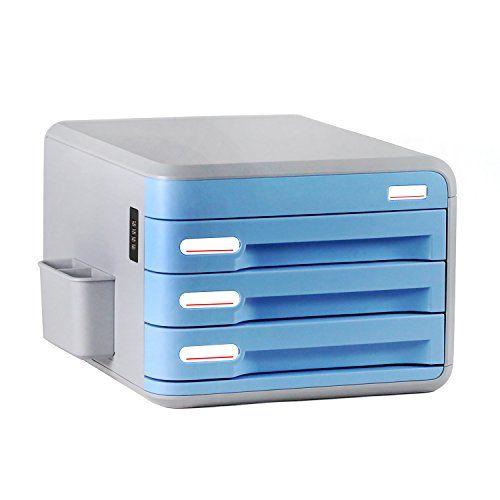 Plastic Storage Drawers Desk Storage Unit Organizer Lockable File Cabinet A4 Box For Office (Blue-A2)