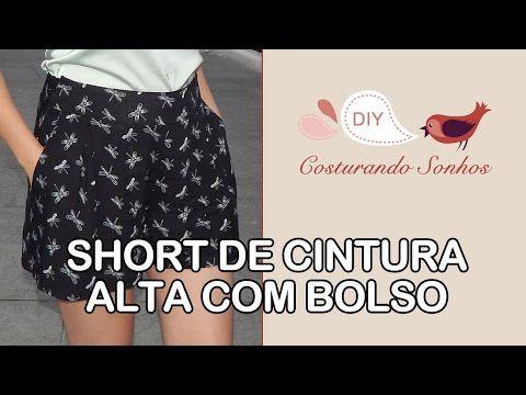 Short de Cintura Alta com Bolso - YouTube