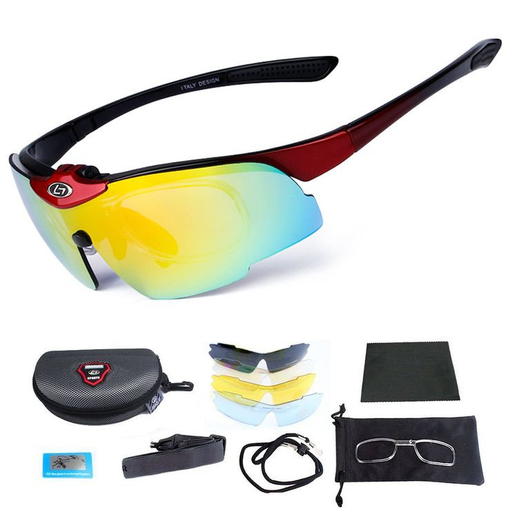 Cycling Glasses Outdoor Fishing Driving Tennis Cricket Golf Biking Running Sports Sunglasses with Case and 5 Interchangeable P