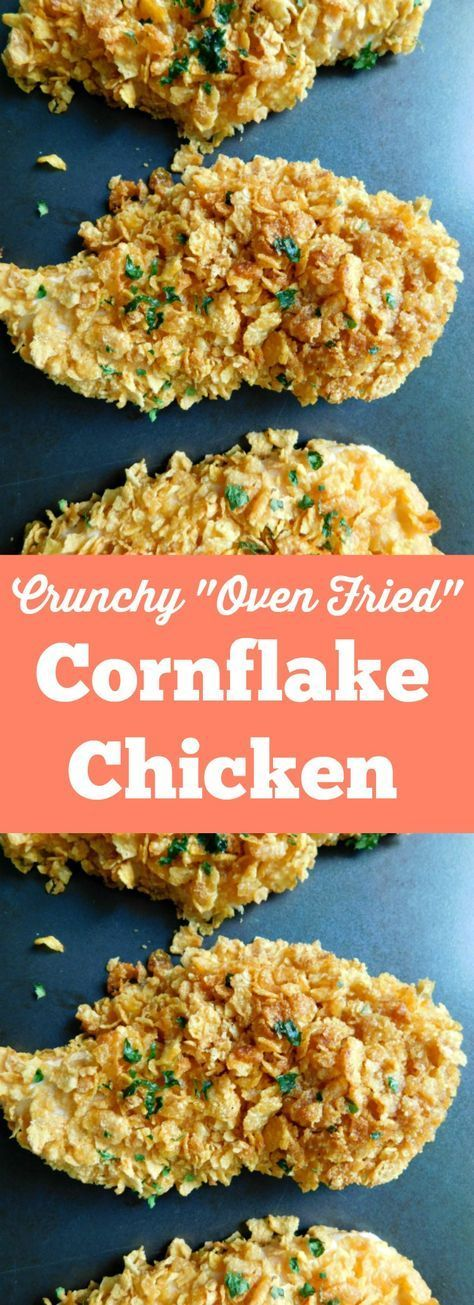 Crunchy Oven Fried Cornflake Chicken is a light, healthy version of a comfort food classic. This baked chicken dish is easy and perfect for weeknight dinners.