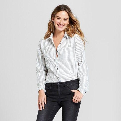 28189c9bb21 Women s Tie Front Striped Long Sleeve Button Down Shirt - Universal Thread™  Blue XL   Target