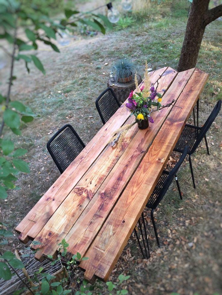 Diy Gartentisch Aus Alten Holzbohlen Selber Bauen Diy Garden