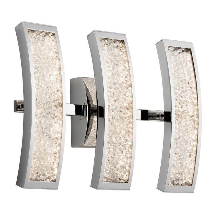 Elan Crushed Ice 3-Light Chrome Rectangle LED Vanity Light
