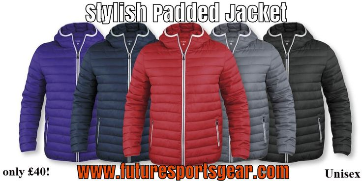 Stylish Padded Jacket Hood/Unisex- comes with 1 logo. Quality addition to our range of outerwear #makeithappen