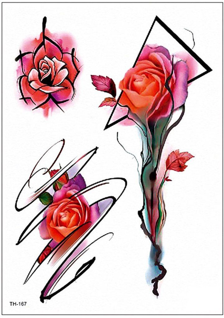 Dolores Red Watercolor Linework Neo Traditional Rose Temporary Tattoo Neo Traditional Roses Traditional Rose Tattoos Watercolor Rose Tattoos