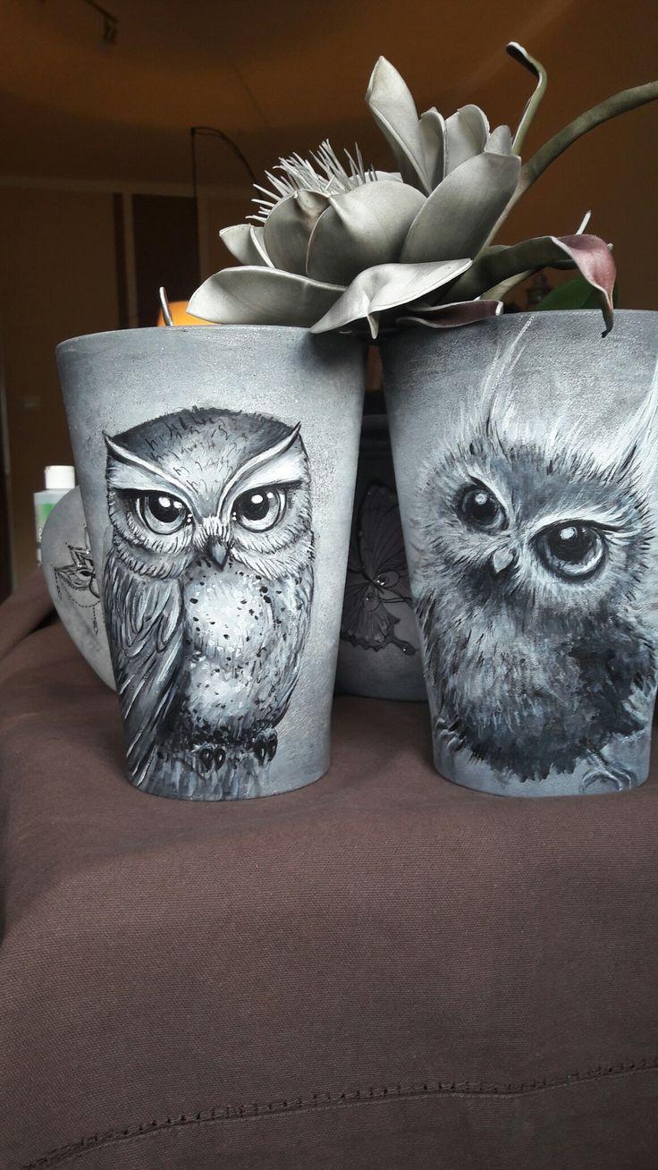 Pot#owls#handmade