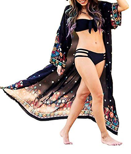 7d642a5c0ca Sanifer Women s Boho Floral Printed Open Front Swimsuit Cover up Plus Size  Long Beach Cover up Kimono