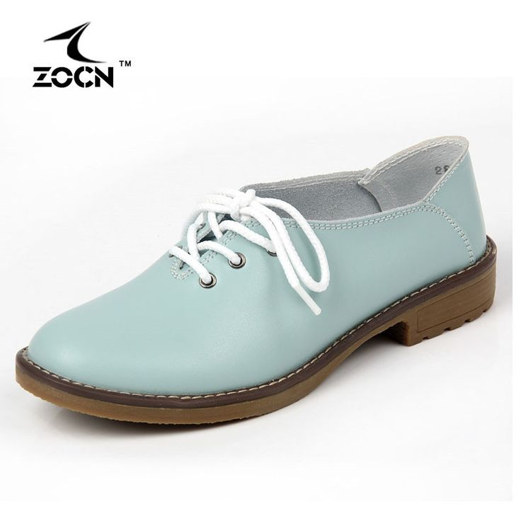 ZOCN 2016 Plus Size Genuine Leather Shoes Woman Flats Casual Shoes Oxfords Women Lace Up Moccasins Ballet Flats Zapatos Mujer