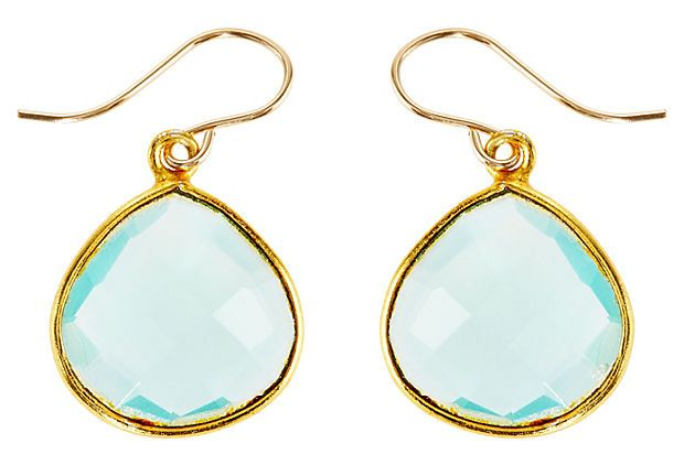 Seafoam Quartz Teardrop Earrings on OneKingsLane.com