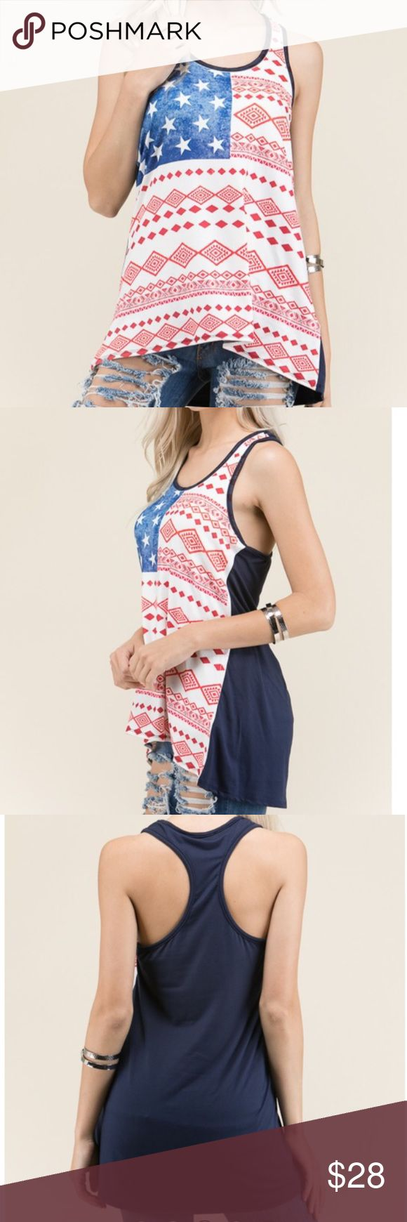 American Flag Patriotic Tank Top Racerback American flag tank top. 95% polyester 5% Spandex. Made in the USA. Boutique Tops Tank Tops