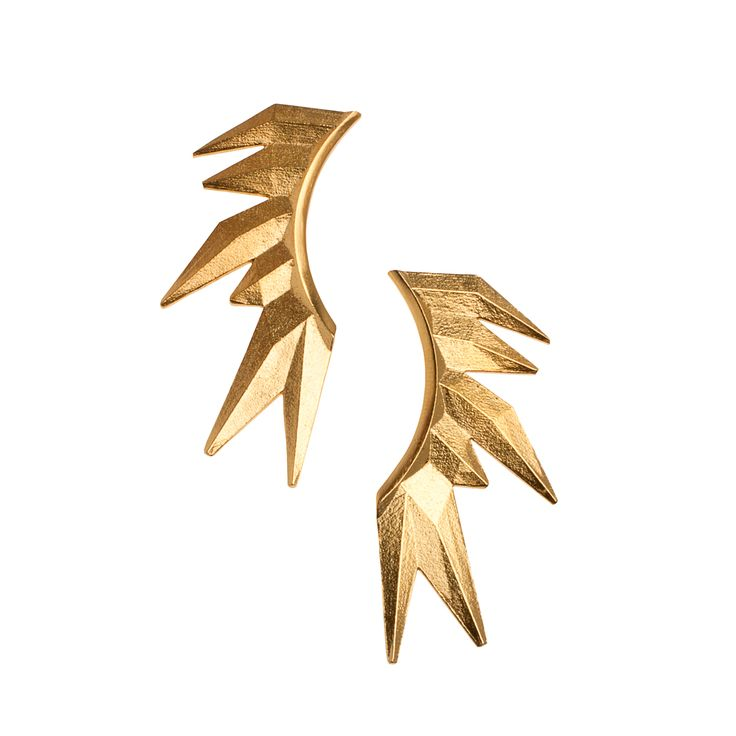 """Avant-garde earringsfrom NOILENCE's Unitycollection.  Materials:Gold-plated sterling silver with sterling silver ear wires and ear nuts  Measurements:5 cm x 2 cm (1.9"""" x 2.9"""")  Designed in: Greece  Crafted in: Greece"""