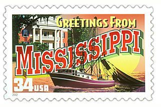 The Mississippi State Postage Stamp  Depicted above is the Mississippi state 34 cent stamp from the Greetings From America commemorative stamp series. The United States Postal Service released this stamp on April 4, 2002. The retro design of this stamp resembles the large letter postcards that were popular with tourists in the 1930's and 1940's.