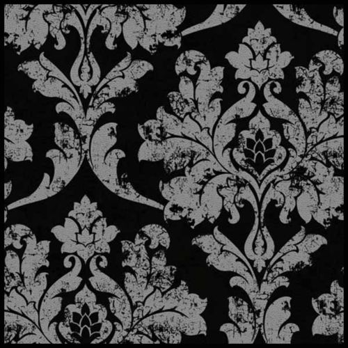 WP44 BLACK SILVER FOIL WALLPAPER WALL PAPER ROLL FEATURE FLORAL VINTAGE DARK