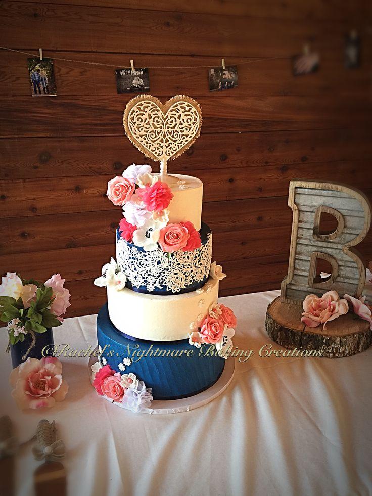 "4 Tier Buttercream ""Navy & Coral"" Rustic Elegance Wedding Cake"