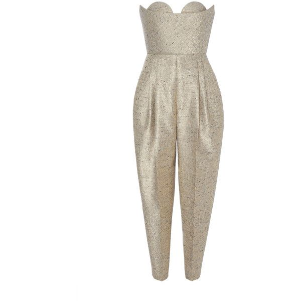 DELPOZO Sweetheart Jumpsuit (10.875.080 COP) ❤ liked on Polyvore featuring jumpsuits, jump suit, high waisted jumpsuit, sweetheart neckline jumpsuit, white strapless jumpsuit and white jumpsuit