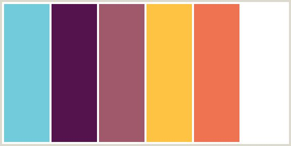 ColorCombo6262 - ColorCombos.com color palettes, color schemes, color combos with hex colors codes #72CBDB, #55134E, #A0596B, #FEC343, #EF7351, #FFFFFF and color combination tags AU CHICO, BRIGHT SUN, BURNT SIENNA, DEEP PINK, FUCHSIA, FUSCHIA, HOT PINK, LIGHT BLUE, LOULOU, MAGENTA, RED, RED ORANGE, TEAL, VIKING, WHITE, YELLOW ORANGE.