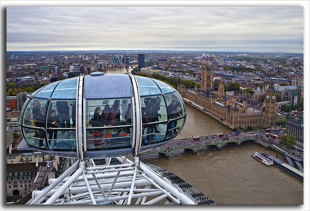 443 feet above the River Thames....... It was a gray gloomy day, but the view was amazing!!    en.wikipedia.org/wiki/London_Eye   Canon 5D Mark ll EF 24-70 mm @ 24mm ISO 200       f/8 1/40  second exposure