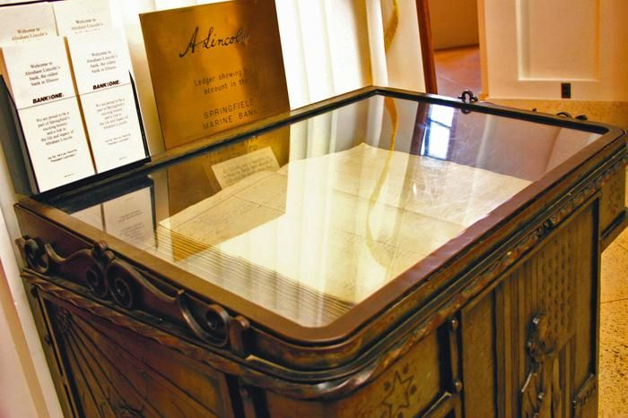Lincoln Ledger.   Abraham Lincoln's original account ledger with the Springfield Marine and Fire Insurance Company is on display at Chase Bank during banking hours.