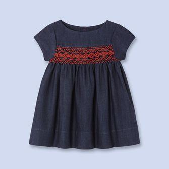 Smocked denim dress - Girl - BLUE DENIM - Jacadi Paris