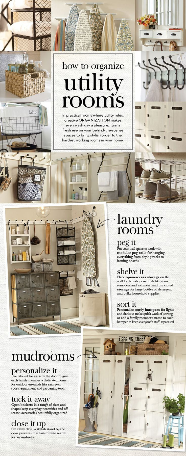 Laundry room..... How to Organize Utility Rooms with tips from Pottery Barn