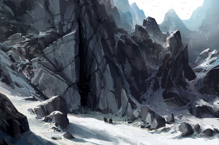 Mountain Enterance, Eric VanAllen on ArtStation at https://www.artstation.com/artwork/qbaJz